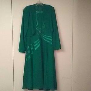 vibrant green dress